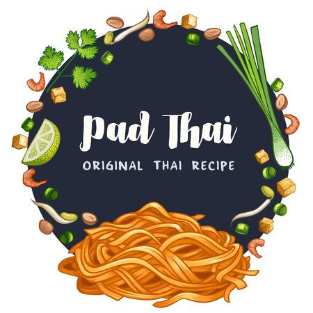 Padthai Thai food streetfood ingrédient recette vector illustration Vecteurs