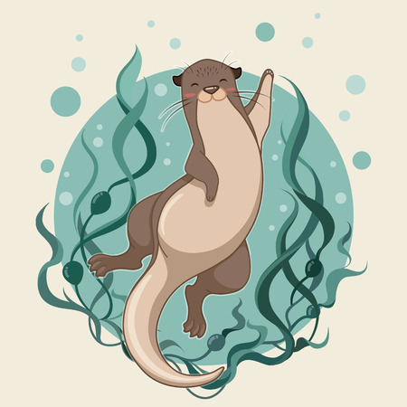 sea otter floating on water with kelp forest vector illustration Reklamní fotografie - 110513878
