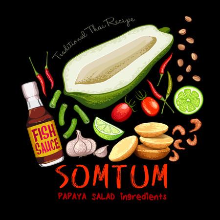 Illustrazione di vettore degli ingredienti dell'insalata di papaya somtum ricetta tradizionale tailandese Vettoriali