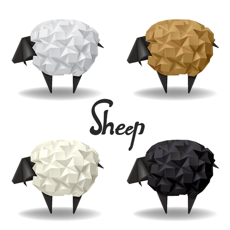 Origami paper sheep and lamb group set decor vector illustration