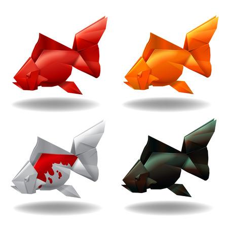 Groupe de poissons d'or papier origami mis décor illustration vectorielle