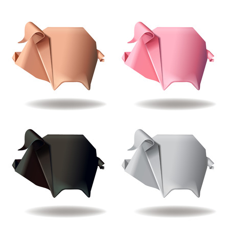 Origami paper pig group set decor vector illustration Çizim