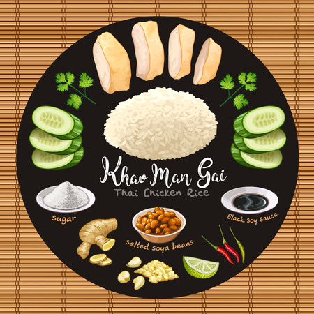 Khao man gai thai style chicken rice with ingredients vector illustration Иллюстрация