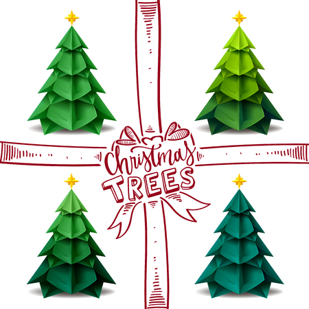 christmas tree origami craftsmanship design vector illustration