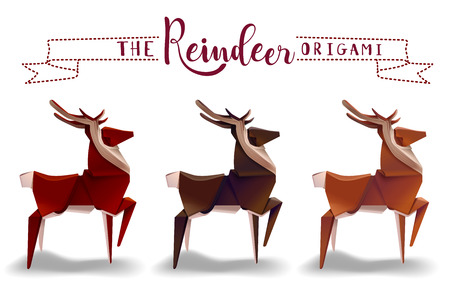 paper reindeer origami craftsmanship design vector illustration Çizim