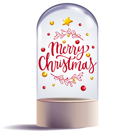 christmas gift in glass dome design decorative vector illustration