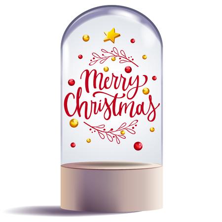 Weihnachtsgeschenk in der dekorativen Vektorillustration des Glaskuppeldesigns Vektorgrafik