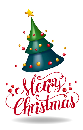 christmas tree 3d abstract shape design decorative with calligraphy vector illustration