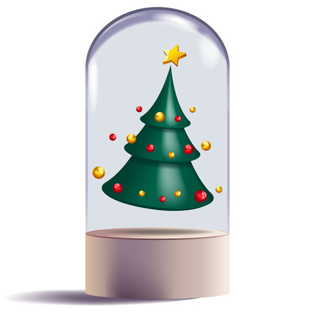 christmas tree 3d abstract shape design decorative vector illustration