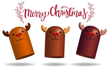 red nose reindeer 3d character design decorative vector illustration