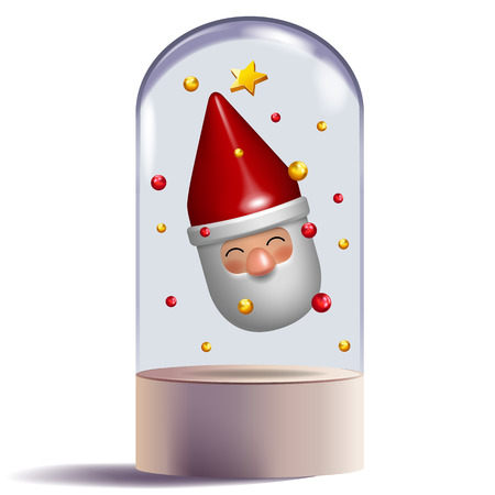 santa claus 3d toy gift character design in glass dome decorative vector illustration