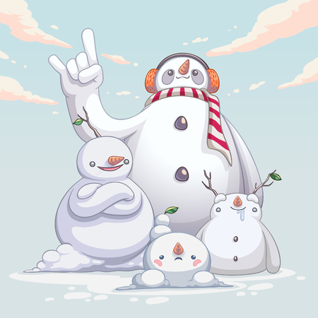 snowman monster cute character design vector illustration
