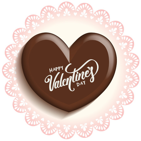 heart chocolate for valentines day on lace doilies paper with calligraphy vector illustration