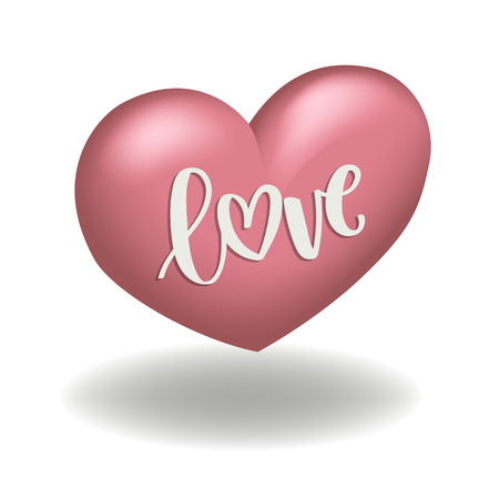 pink heart 3d shape for valentines day with calligraphy vector illustration