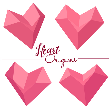 heart box design 3d origami style vector illustration