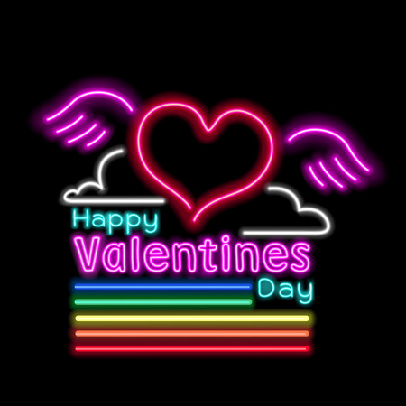 neon rainbow glow effect of valentines day vector illustration