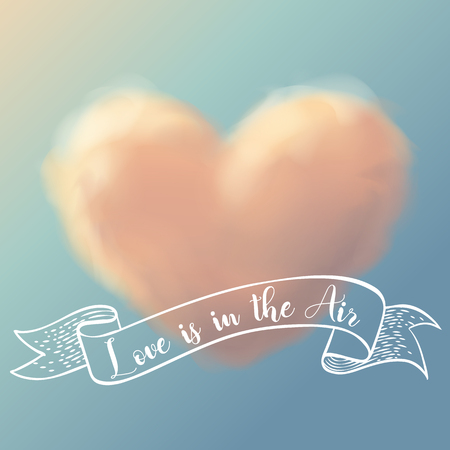 heart cloud in vanilla sky with calligraphy vector illustration