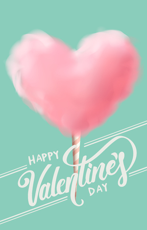 heart shape cotton candy with calligraphy vector illustration