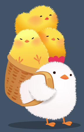 cute hen and chicks character design set vector illustration Çizim