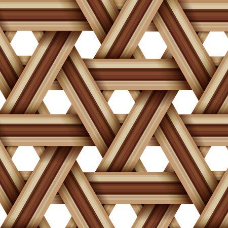 motif de tissage en bois de bambou, concept de thème de surface de texture en osier naturel, illustration vectorielle