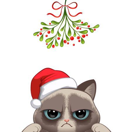 Christmas card Portrait of cute cat character design in Santas cap under the mistletoe vector illustration