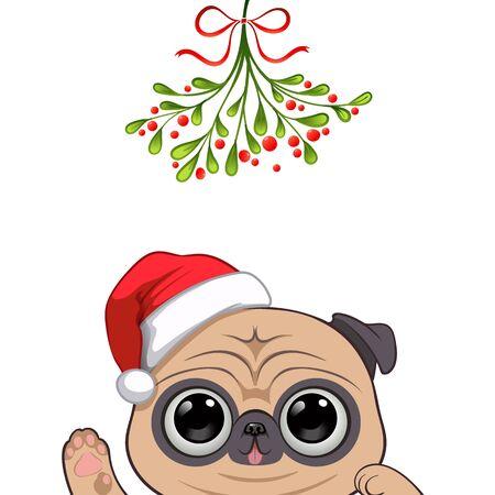 Christmas card Portrait of cute dog character design in Santa's cap under the mistletoe vector illustration Illustration