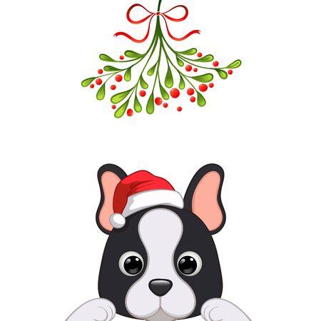 Christmas card Portrait of cute dog character design in Santas cap under the mistletoe vector illustration Ilustração