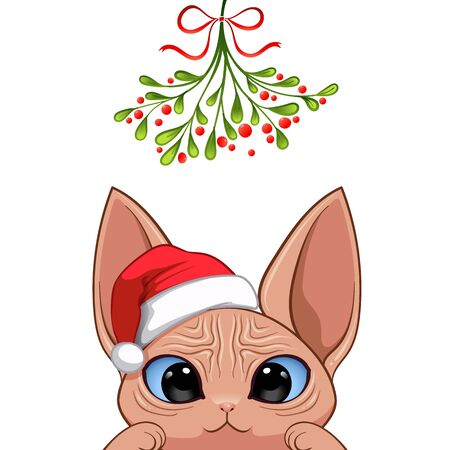 Christmas card Portrait of cute cat character design in Santa's cap under the mistletoe vector illustration
