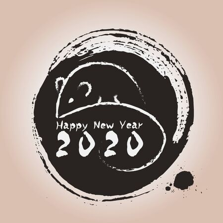 Happy Chinese new year 2020 year of the rat.Chinese zodiac symbol of 2020 Vector Design. greetings card design illustration