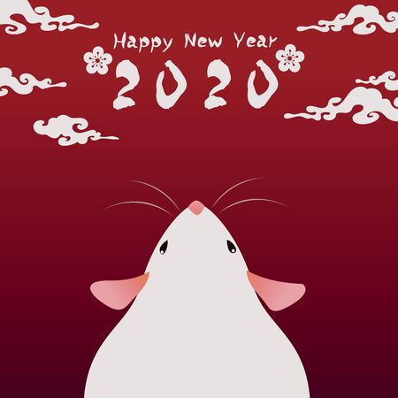 Happy Chinese new year 2020 year of the rat. Chinese zodiac symbol of 2020 Vector Design. greetings card design illustration Illustration
