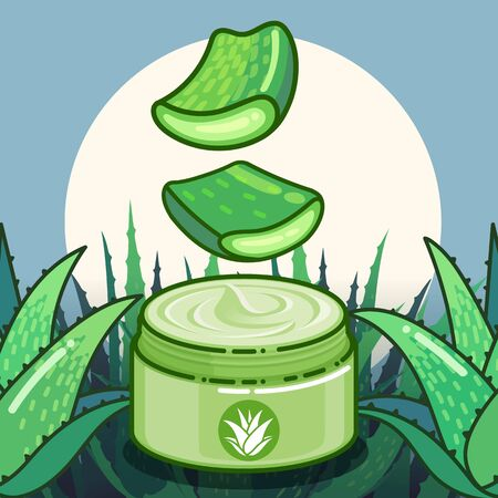 Aloe vera plant vector and product packaging flat design illustration