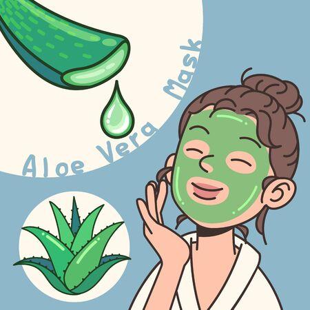 Aloe vera plant face mask vector flat design illustration