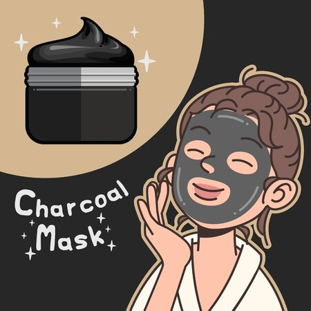 Bamboo activated charcoal powder product flat design vector illustration