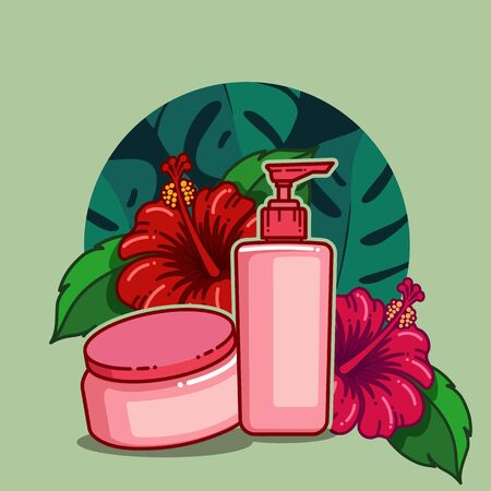 Modern flat design of hibiscus flower for healthy and cosmetics products. vector illustration Illustration