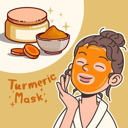 Modern flat design of turmeric for healthy and cosmetics products. vector illustration Vettoriali