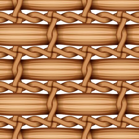 bamboo wood weaving pattern, natural wicker texture surface theme concept, vector illustration Illustration