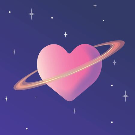Modern flat design of heart shape in space theme. vector illustration Illustration
