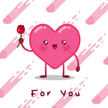 Cute heart character design for poster or greeting card. vector illustration