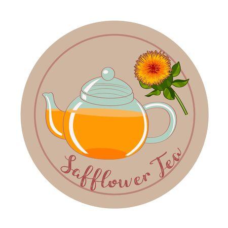 safflower tea modern flat design. vector illustration Illustration