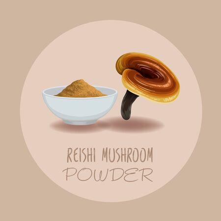 Fungo Reishi ( Ganoderma lucidum ) o fungo Lingzhi. Superfood biologico sano, illustrazione vettoriale