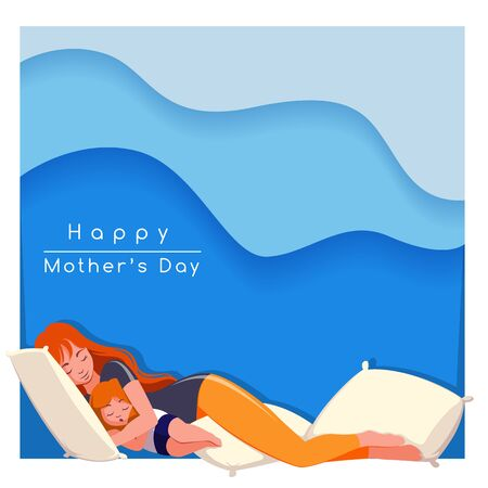 Happy Mother's day greeting card. young mother with her child. vector illustration