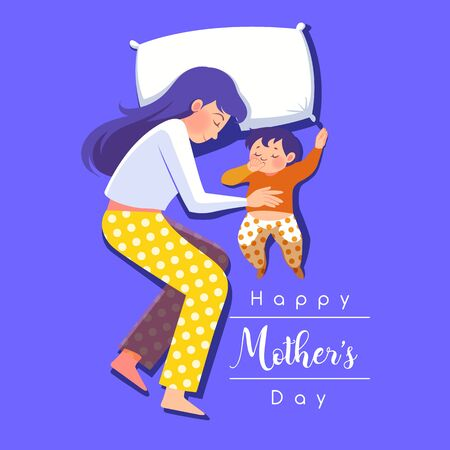 Happy Mothers day greeting card. young mother with her child. vector illustration