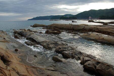 strangely shaped rocks park called Tatsukushi Stock Photo