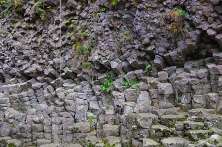 columnar: columnar joint basalt  Genbudo Cave  Stock Photo