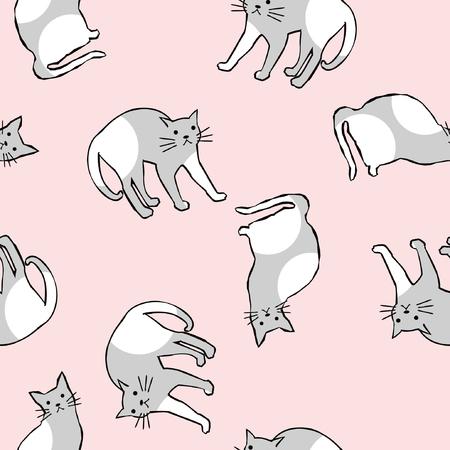 生地、印刷、背景素材のシームレスな猫パターン