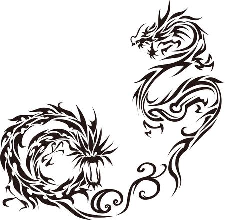 Tribal dragon illustration for design material