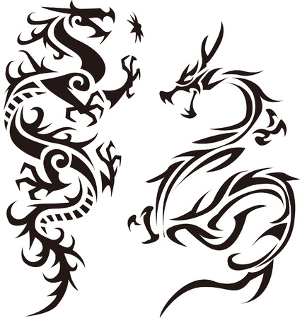 Tribal dragon illustration for design material