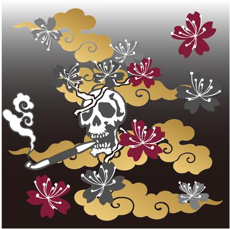 chinoiserie: Japanese  skull illustration for design material Illustration