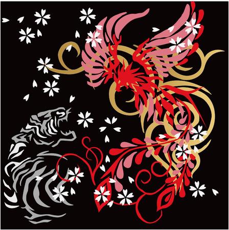chinoiserie: Japanese  illustration for design material Illustration