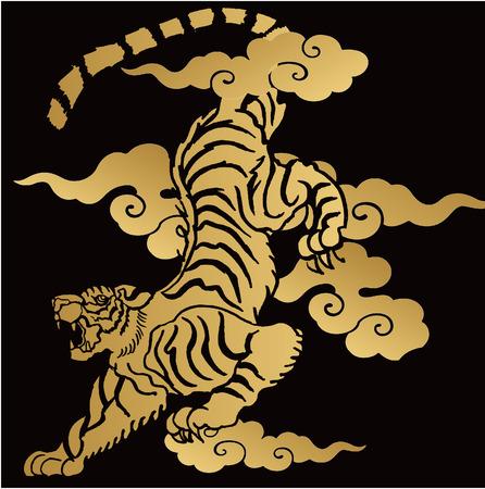 Japanische Tiger-Illustration für Design Material Standard-Bild - 60750942